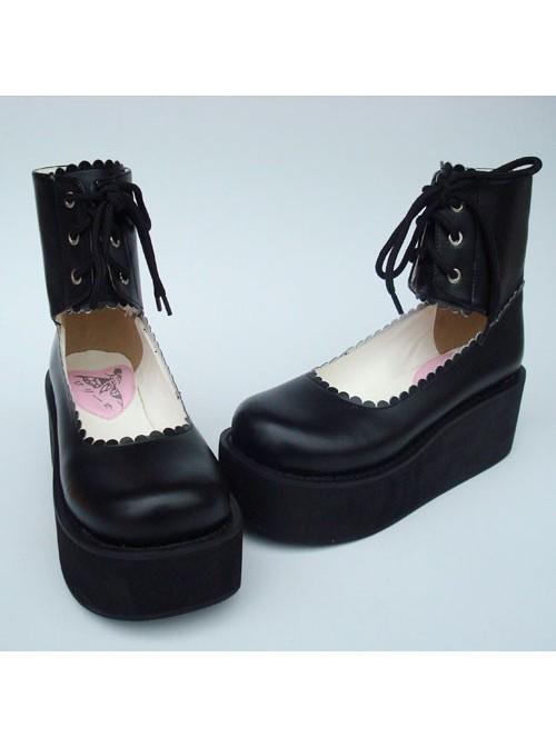 "Black 2.6"" Heel High Cute PU Round Toe Cross Straps Platform Girls Lolita Shoes"