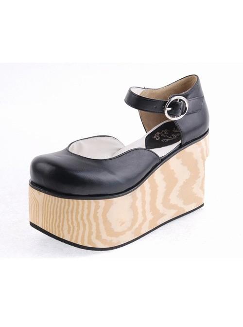 "Black 3.7"" Heel High Adorable Suede Round Toe Cross Straps Platform Girls Lolita Shoes"