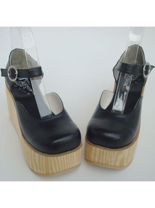"Black 3.7"" Heel High Adorable PU Round Toe Cross Straps Platform Girls Lolita Shoes"