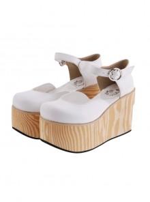 "White 3.7"" Heel High Lovely PU Round Toe Cross Straps Platform Girls Lolita Shoes"