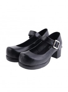 "Black 2.9"" Heel High Sexy Polyurethane Point Toe Ankle Straps Platform Girls Lolita Shoes"