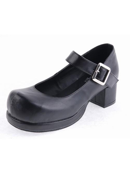 "Black 2.9"" Heel High Sexy Polyurethane Point Toe Ankle Straps Platform Girls Lolita Shoes"