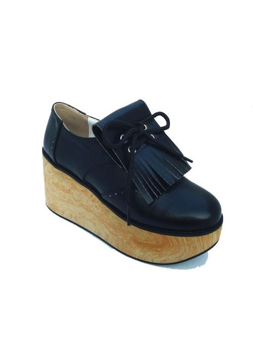 """Black 3.1"""" Heel High Romatic Synthetic Leather Point Toe Ankle Straps Platform Girls Lolita Shoes"""