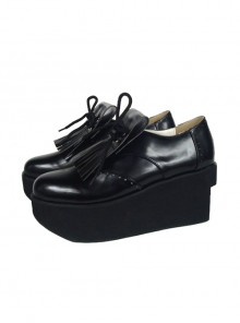 "Black 3.1"" Heel High Sexy Patent Leather Point Toe Ankle Straps Platform Girls Lolita Shoes"