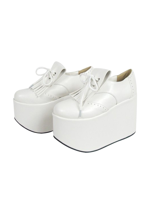 """White 3.9"""" Heel High Cute Suede Point Toe Ankle Straps Platform Girls Lolita Shoes"""