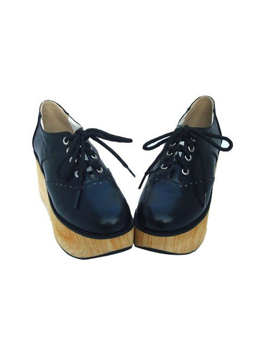 """Black 3.1"""" Heel High Gorgeous Patent Leather Point Toe Ankle Straps Platform Girls Lolita Shoes"""