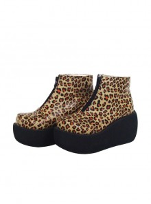 "Leopard Brown 3.1"" Heel High Special Synthetic Leather Round Toe Ankle Straps Platform Girls Lolita Shoes"