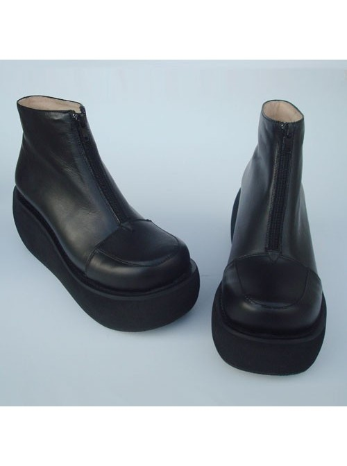 """Black 3.1"""" Heel High Sexy Patent Leather Round Toe Ankle Straps Platform Lady Lolita Shoes"""