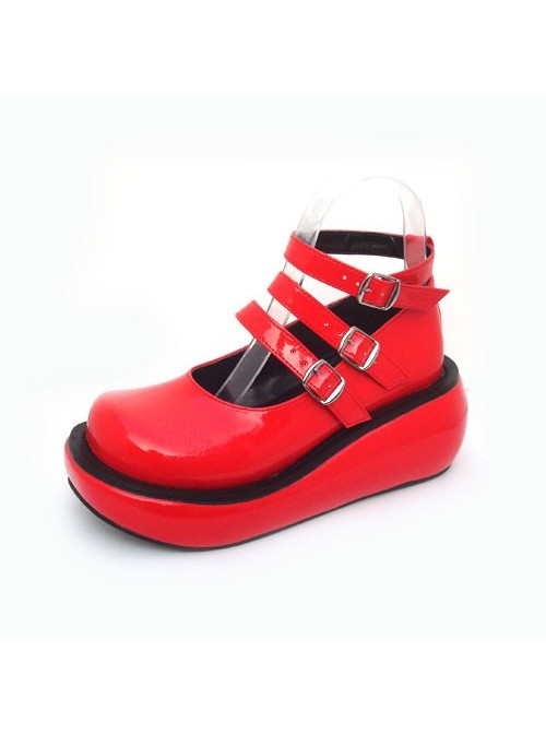 """Red 2.5"""" Heel High Romatic Patent Leather Round Toe Ankle Straps Platform Lady Lolita Shoes"""