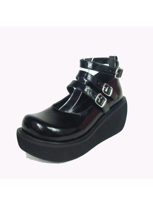 """Black 2.5"""" Heel High Special Synthetic Leather Round Toe Ankle Straps Platform Lady Lolita Shoes"""