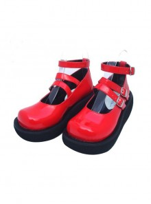 """Red 2.5"""" Heel High Cute Suede Round Toe Ankle Straps Platform Lady Lolita Shoes"""
