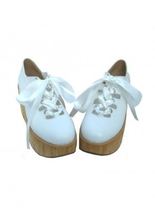 "White 3.1"" Heel High Lovely Patent Leather Round Toe Ankle Straps Platform Lady Lolita Shoes"