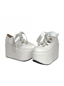 "White 3.9"" Heel High Adorable Suede Round Toe Ankle Straps Platform Lady Lolita Shoes"