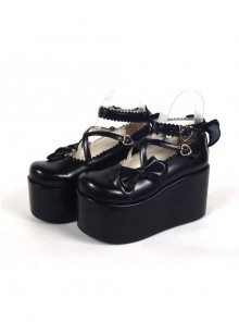 "Black 3.9"" Heel High Glamorous Synthetic Leather Round Toe Cross Straps Platform Lady Lolita Shoes"