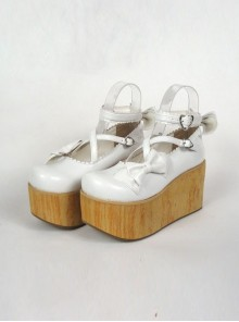"White 3.9"" Heel High Lovely Suede Round Toe Cross Straps Platform Lady Lolita Shoes"