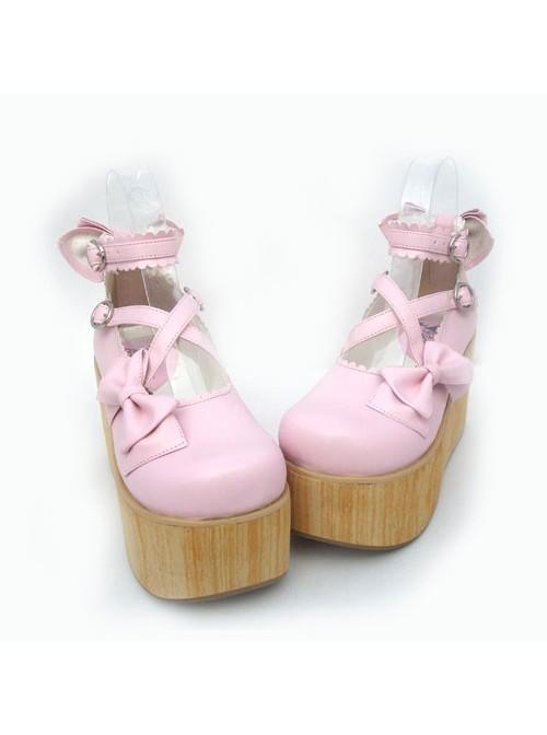 "Pink 3.9"" Heel High Glamorous Suede Round Toe Cross Straps Platform Lady Lolita Shoes"