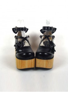 "Black 3.9"" Heel High Cute Polyurethane Round Toe Cross Straps Platform Lady Lolita Shoes"