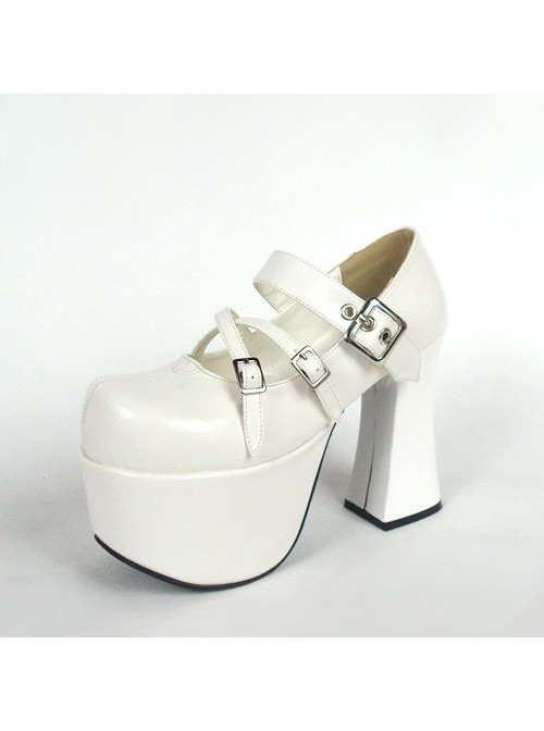 "White 4.9"" Heel High Gorgeous Suede Round Toe Cross Straps Platform Lady Lolita Shoes"