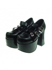 "Black 4.9"" Heel High Lovely Suede Round Toe Cross Straps Platform Lady Lolita Shoes"