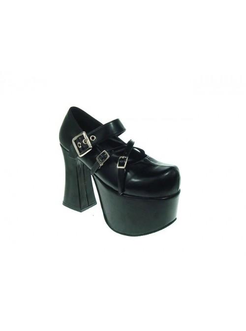 "Black 4.9"" Heel High Lovely Suede Round Toe Cross Straps Platform Lady Lolita Shoes"