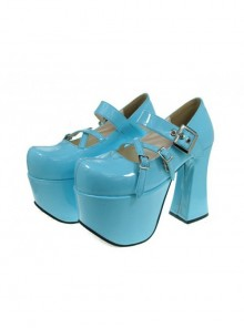 "Sky-Blue 4.9"" Heel High Classic Suede Round Toe Cross Straps Platform Lady Lolita Shoes"