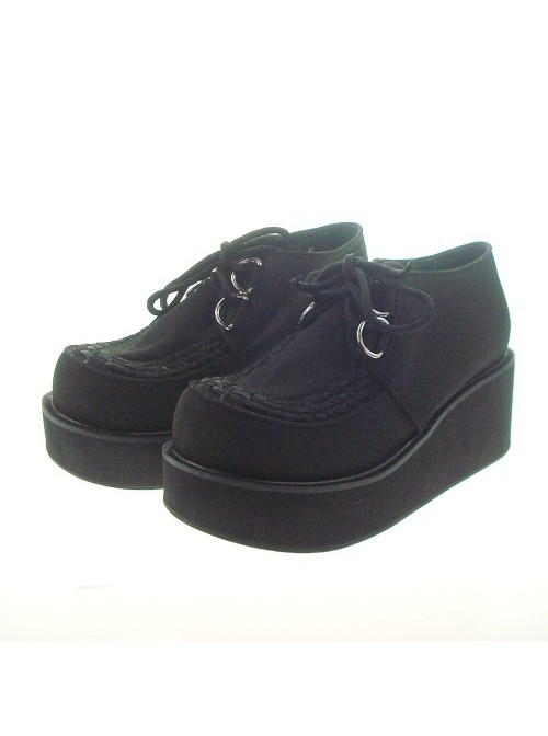 """Black 2.5"""" Heel High Cute Synthetic Leather Round Toe Cross Straps Platform Lady Lolita Shoes"""