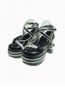 "Black & White 3.7"" Heel High Glamorous Polyurethane Round Toe Cross Straps Platform Lady Lolita Shoes"