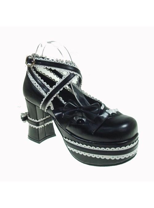 "Black & White 3.7"" Heel High Glamorous Polyurethane Round Toe Cross Straps Platform Lady Lolita Shoes"