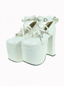 "White 5.9"" Heel High Lovely Suede Round Toe Cross Straps Platform Lady Lolita Shoes"