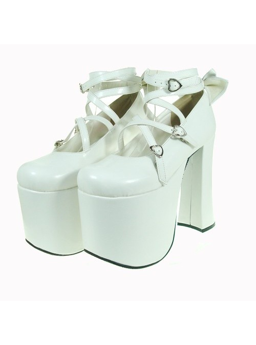 """White 5.9"""" Heel High Lovely Suede Round Toe Cross Straps Platform Lady Lolita Shoes"""