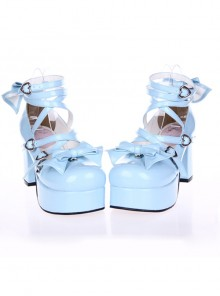 "Sky-Blue 3.7"" Heel High Special Polyurethane Round Toe Cross Straps Platform Lady Lolita Shoes"
