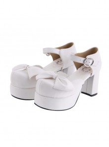 "White 3.1"" Heel High Cute Suede Round Toe Cross Straps Platform Lady Lolita Shoes"
