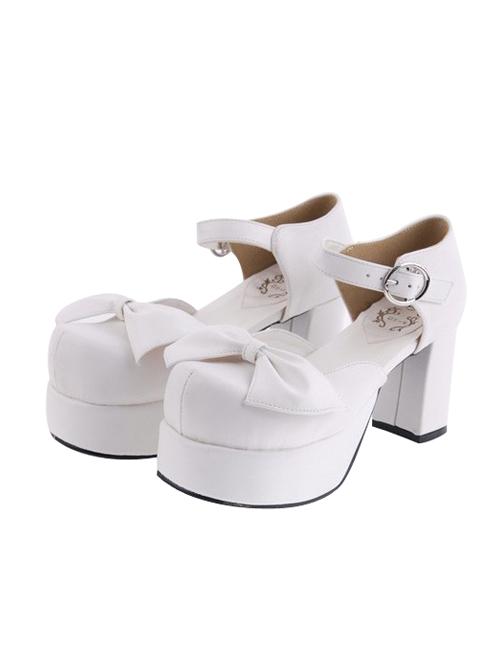 "White 3.1"" Heel High Cute Suede Round Toe Cross Straps Platform Lady Lolita Shoes"