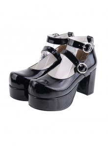 "Black 3.1"" Heel High Gorgeous Synthetic Leather Round Toe Cross Straps Platform Lady Lolita Shoes"