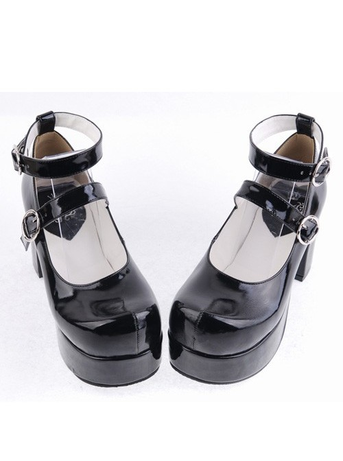 """Black 3.1"""" Heel High Gorgeous Synthetic Leather Round Toe Cross Straps Platform Lady Lolita Shoes"""