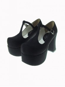 "Black 3.7"" Heel High Glamorous Patent Leather Round Toe Cross Straps Platform Lady Lolita Shoes"