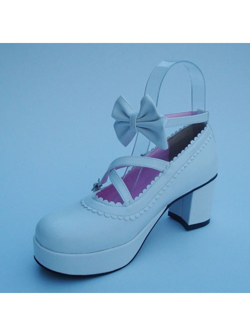"""White 2.5"""" Heel High Lovely Patent Leather Round Toe Cross Straps Platform Lady Lolita Shoes"""