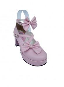 "Pink 2.5"" Heel High Glamorous Suede Round Toe Bow Platform Lady Lolita Shoes"