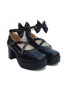 "Black 2.5"" Heel High Romatic Patent Leather Round Toe Bow Platform Lady Lolita Shoes"