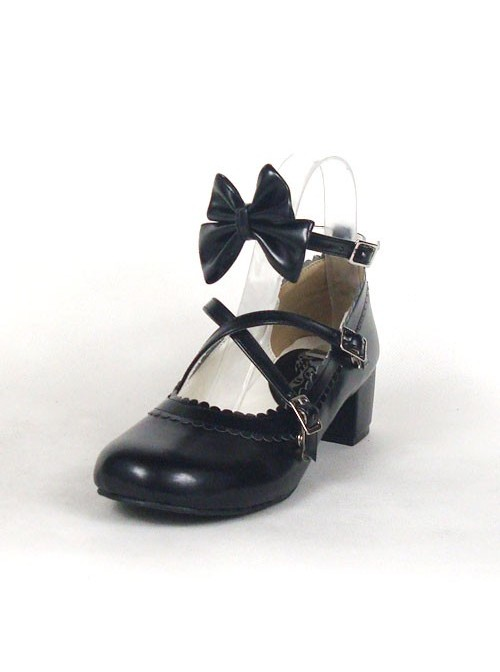 """Black 1.8"""" Heel High Cute Synthetic Leather Round Toe Bow Platform Lady Lolita Shoes"""