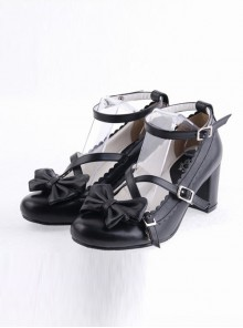 "Black 2.5"" Heel High Classic Polyurethane Round Toe Bow Platform Lady Lolita Shoes"