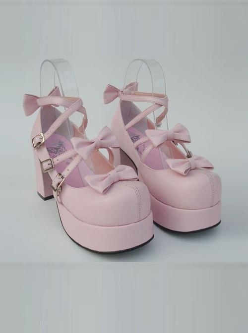 "Pink 3.1"" Heel High Elegant Patent Leather Round Toe Bow Platform Lady Lolita Shoes"