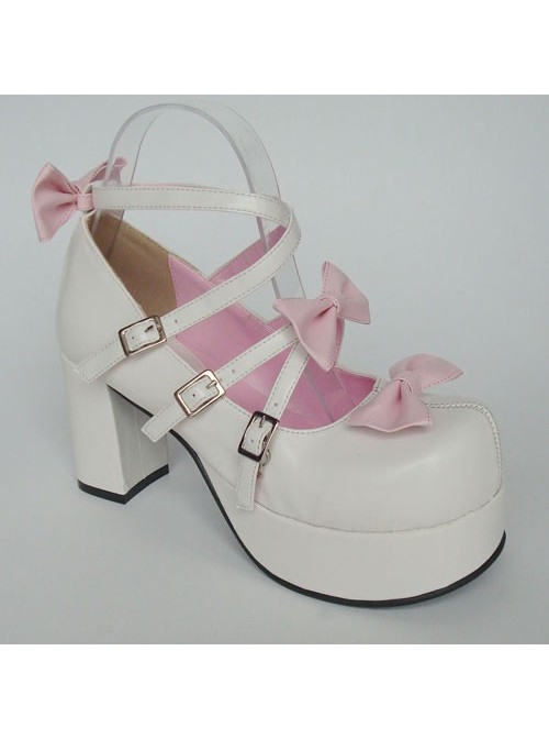 """Pink & White 3.1"""" Heel High Gorgeous Suede Round Toe Bow Platform Lady Lolita Shoes"""