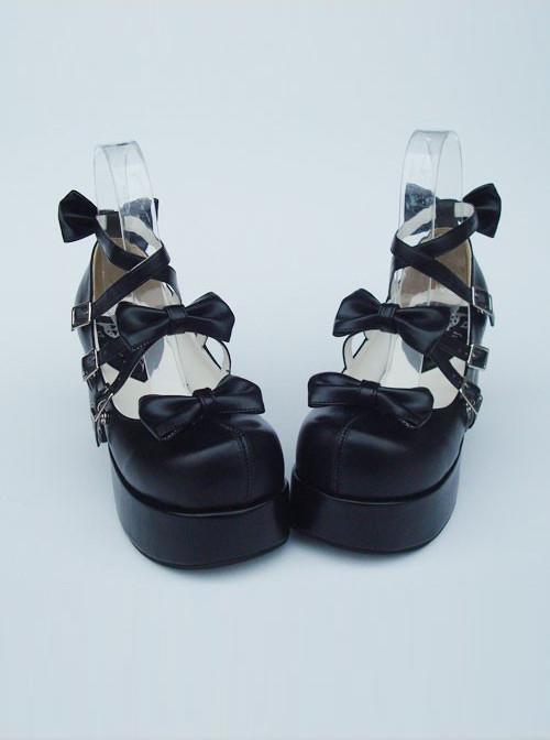 "Black 3.1"" Heel High Special PU Round Toe Bow Platform Lady Lolita Shoes"