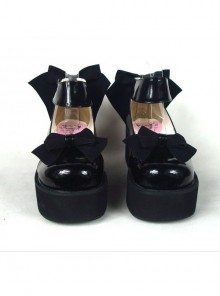 "Black 2.5"" Heel High Gorgeous Polyurethane Round Toe Cross Straps Platform Women Lolita Shoes"