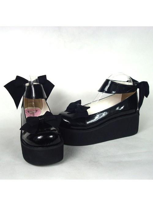 "Black 2.5"" Heel High Gorgeous Polyurethane Round Toe Cross Straps Platform Women Lolita Shoes"