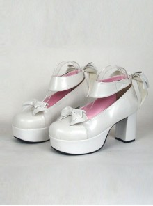 "White 3.1"" Heel High Adorable Suede Round Toe Cross Straps Platform Women Lolita Shoes"