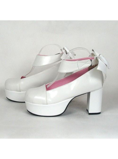"White 3.1"" Heel High Adorable Suede Round Toe Cross Straps Platform Women Lolita Shoes"