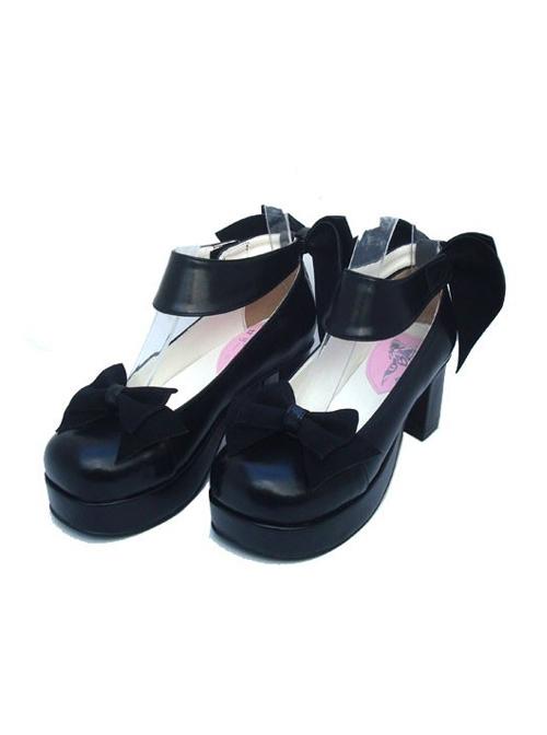 "Black 3.1"" Heel High Elegant PU Round Toe Cross Straps Platform Women Lolita Shoes"