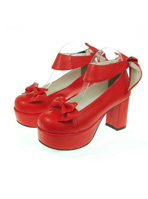 "Red 3.1"" Heel High Lovely PU Round Toe Cross Straps Platform Women Lolita Shoes"